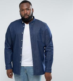 ASOS Темная эластичная джинсовая рубашка узкого кроя с карманом на груди AS. Цвет: темно-синий