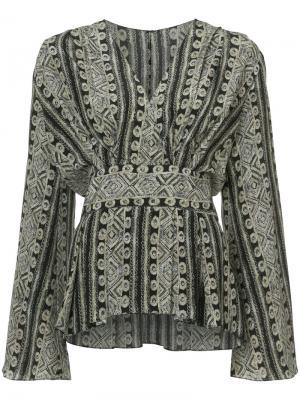 Блузка со сборкой и V-образным вырезом Sally Lapointe. Цвет: чёрный