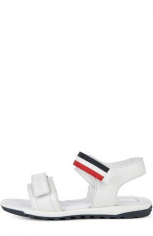 Кожаные сандалии с двойной застежкой велькро Moncler Enfant. Цвет: белый