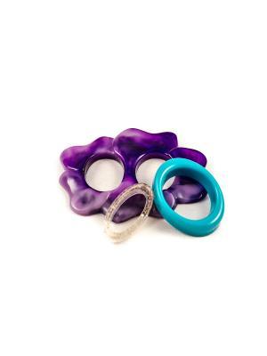 Пряжка Волшебная пуговица Лилия и кольцо для шарфа madam Пряжкина. Цвет: бирюзовый, прозрачный, темно-фиолетовый