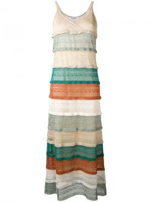 Многослойное длинное платье с блестящей отделкой Jucca. Цвет: многоцветный