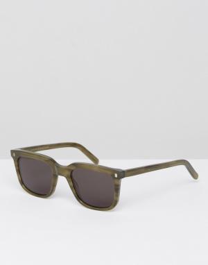 Monokel Eyewear Квадратные солнцезащитные очки в зеленой оправе Robotn. Цвет: зеленый