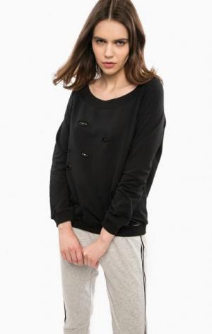 Черный хлопковый свитшот с рваными деталями Liu Jo Jeans. Цвет: черный