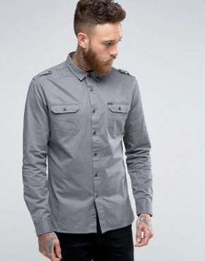Firetrap Рубашка в стиле милитари. Цвет: серый