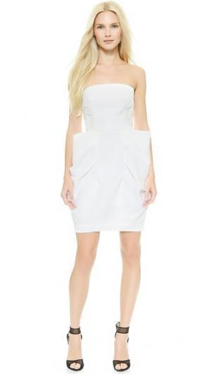 Платье со скульптурным бантом Monique Lhuillier. Цвет: белый шелк