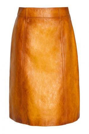 Желтая кожаная юбка Prada. Цвет: желтый