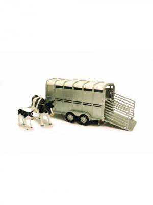 Трейлер для перевозки животных с коровой и теленком TOMY.. Цвет: белый