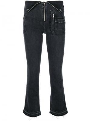 Укороченные брюки с деталью в виде воротника на талии Rta. Цвет: чёрный