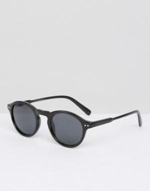 7X Черепаховые круглые солнцезащитные очки. Цвет: черный