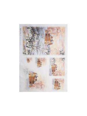 Декупажная карта 32*45 деревянный дом зимой Idigo. Цвет: сиреневый, прозрачный