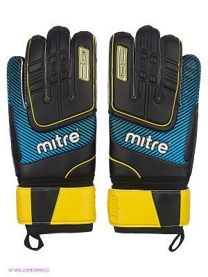 Перчатки вратарские MITRE Anza G2 Durable взрослые. Цвет: черный, голубой, желтый