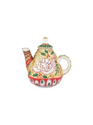 Сувенир-чайник Райская птица Elan Gallery. Цвет: желтый, зеленый, красный, розовый