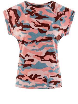 Футболка Oodji. Цвет: розовый, голубой, коричневый