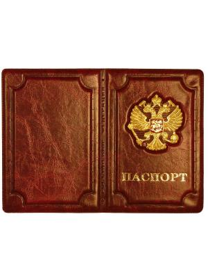 Обложка на паспорт кожзам герб Pro Legend. Цвет: коричневый, золотистый