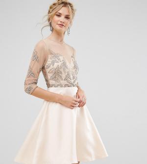 Maya Tall Короткое приталенное платье для выпускного с отделкой. Цвет: розовый