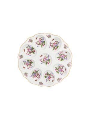Тарелка для фаршированных яиц Душистый горошек Elan Gallery. Цвет: зеленый, белый, фиолетовый