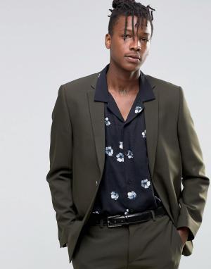 ASOS Узкий пиджак цвета хаки. Цвет: зеленый