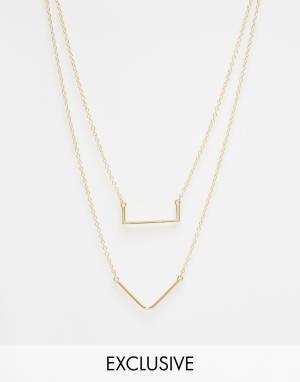 Designsix Золотистое двойное ожерелье. Цвет: золотой