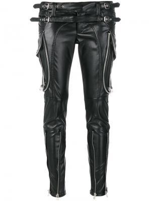 Лакированные брюки с молниями Faith Connexion. Цвет: чёрный