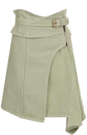 Мини-юбка асимметричного кроя с поясом Isabel Marant. Цвет: светло-зеленый