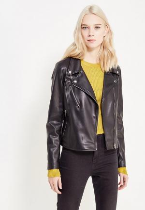 Куртка кожаная UNNA. Цвет: черный