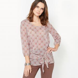 Блузка с рисунком, из жатого крепа ANNE WEYBURN. Цвет: набивной рисунок