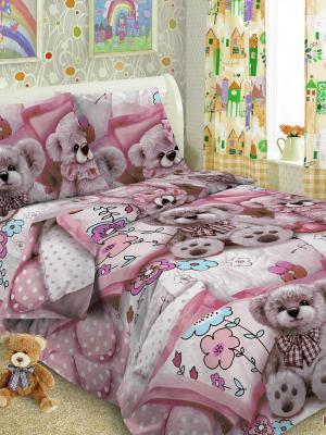 Детский комплект постельного Тэдди, 1,5-спальный, наволочка 50*70, хлопок Letto. Цвет: розовый