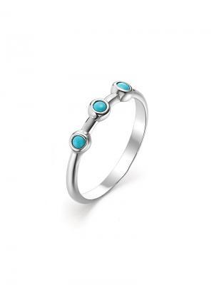 Стильное кольцо KU&KU. Цвет: серебристый, бирюзовый