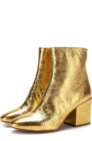 Ботильоны из металлизированной кожи на массивном каблуке Dries Van Noten. Цвет: золотой