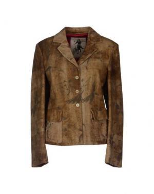 Верхняя одежда из кожи MARIELLA BURANI. Цвет: бежевый