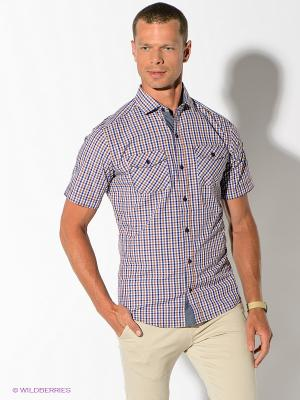 Рубашка Maestro. Цвет: синий, светло-коричневый