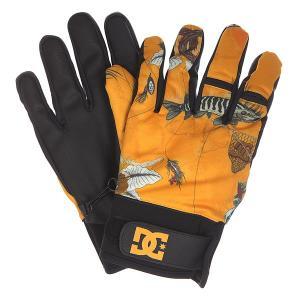 Перчатки сноубордические DC Radian Glove Fly Goods Shoes. Цвет: черный,оранжевый