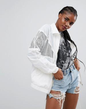 ASOS Куртка-дождевик с сетчатыми вставками. Цвет: белый