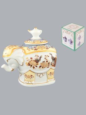 Чайница Слон Павлин на бежевом Elan Gallery. Цвет: бежевый, белый, коричневый