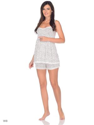 Пижама с шортами для беременных и кормления Nuova Vita. Цвет: темно-бежевый, молочный