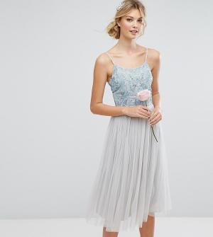 Maya Tall Платье миди с отделкой и пышной тюлевой юбкой. Цвет: синий