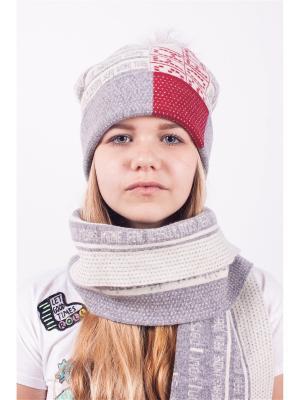 Шапка; шарф MARIELA. Цвет: светло-серый