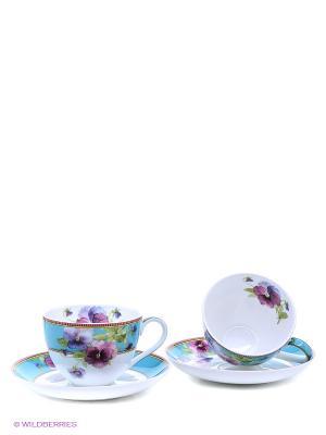 Чайный набор Виола Pavone. Цвет: голубой, розовый, белый, зеленый