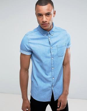 Burton Menswear Узкая джинсовая рубашка с короткими рукавами. Цвет: синий