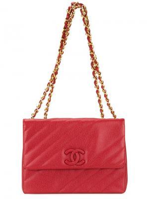 Стеганая сумка на плечо Chanel Vintage. Цвет: красный