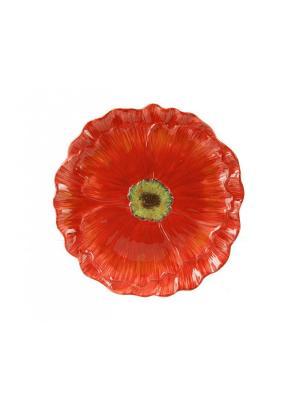 Блюдо круглое 30 см. в виде цветка Парижские маки Certified International. Цвет: темно-красный, бежевый, малиновый