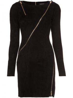 Платье с отделкой молниями и длинными рукавами Jitrois. Цвет: чёрный