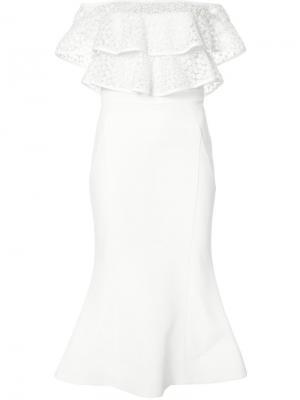 Платье с открытыми плечами Frina Flare Rebecca Vallance. Цвет: белый