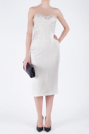 Платье из шелка и вискозы L'wren Scott. Цвет: серо-кремовый
