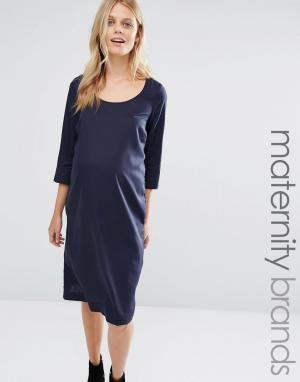 Mama.licious Тканое цельнокройное платье для беременных с завязкой Mamalicious. Цвет: темно-синий