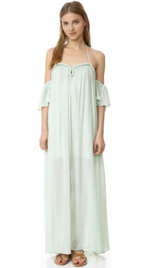 Макси-платье из жатой ткани с округлыми широкими рукавами re:named. Цвет: зеленый
