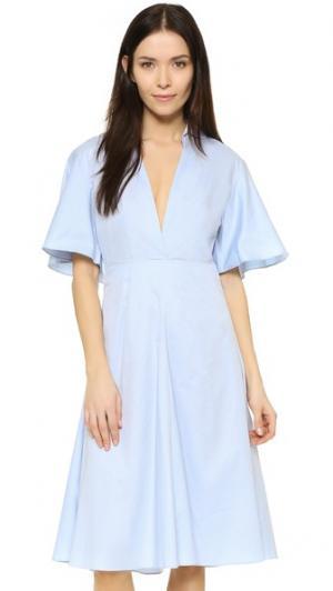 Платье-рубашка Frenchy с расклешенной спиной Shakuhachi. Цвет: светло-голубой