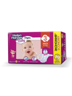 Helen HARPER Подгузники детские Baby Midi 4-9 кг 70шт. Цвет: темно-фиолетовый