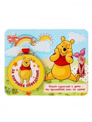 Медаль с открыткой, Винни и его друзья Disney. Цвет: красный, горчичный, золотистый