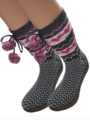 Носки-тапочки HOBBY LINE. Цвет: розовый, серый